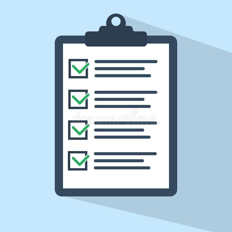 清单象 批准的文件 工作计划平的设计 库存例证