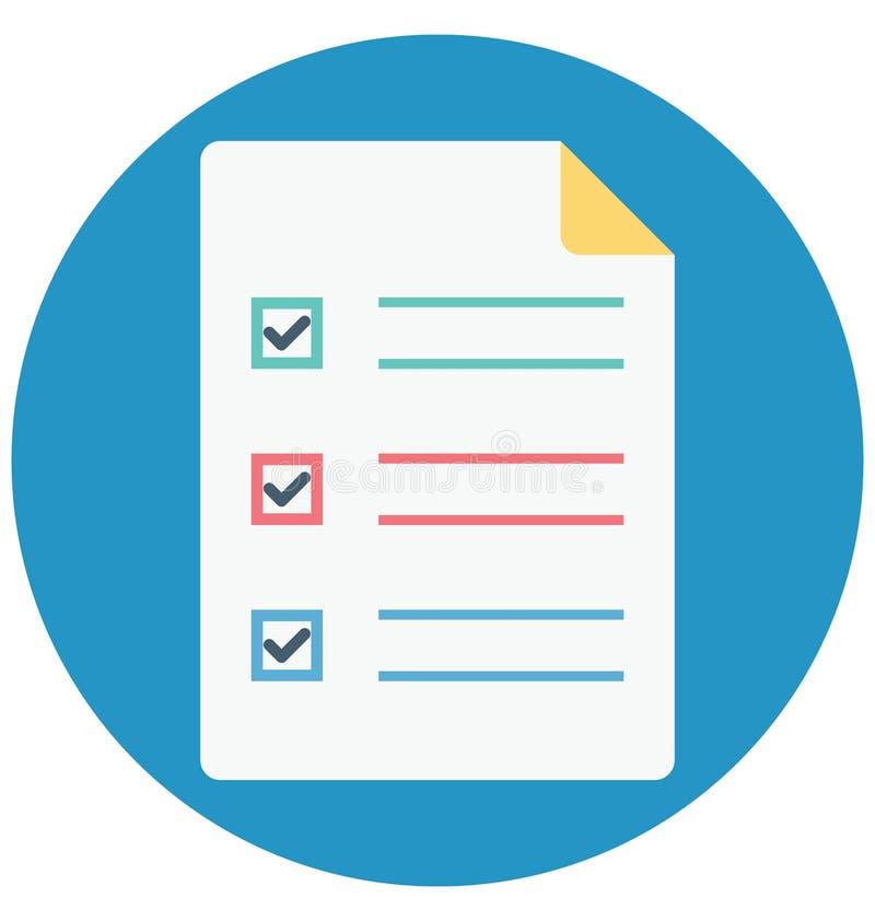 清单,任命,可以容易地修改或编辑的被隔绝的传染媒介象 库存例证