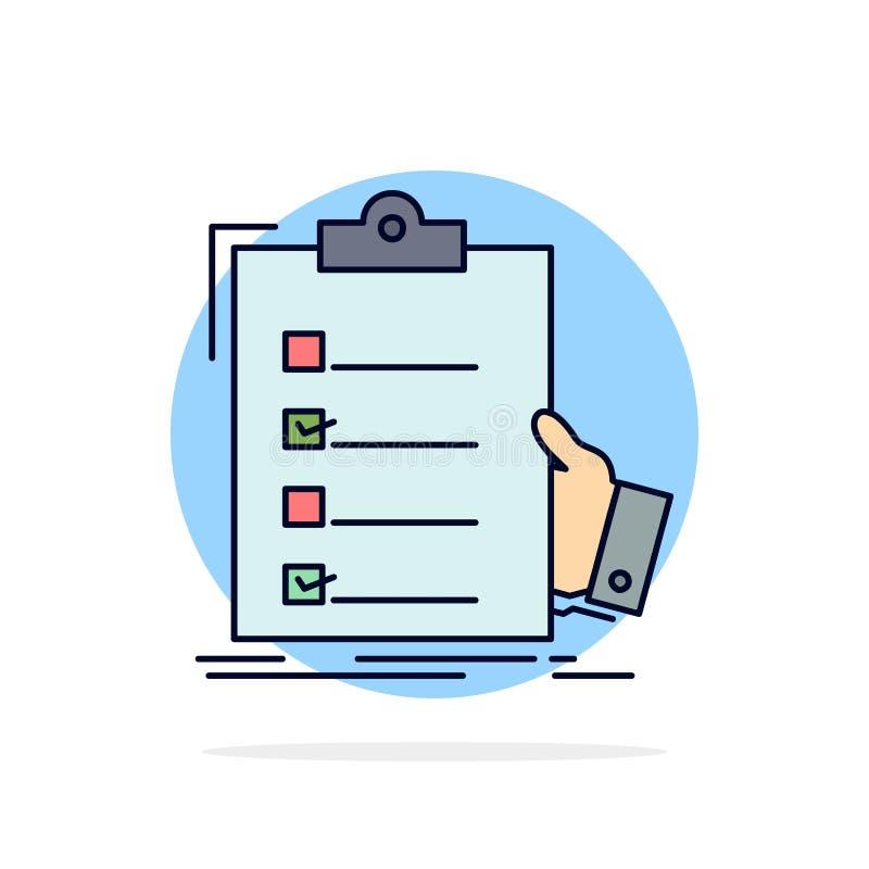 清单,检查,专门技术,名单,剪贴板平的颜色象传染媒介 向量例证