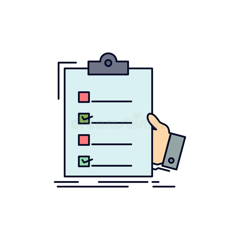清单,检查,专门技术,名单,剪贴板平的颜色象传染媒介 库存例证