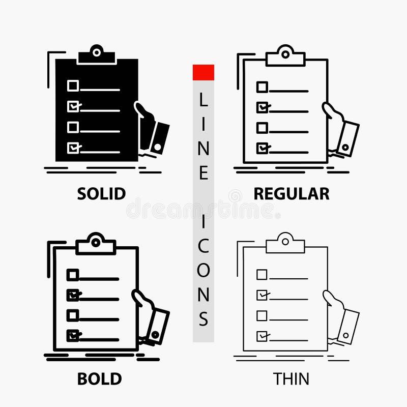 清单,检查,专门技术,名单,在稀薄,规则,大胆的线和纵的沟纹样式的剪贴板象 r 库存例证