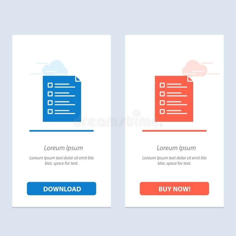 清单,检查,文件,名单,页,任务,测试蓝色和红色下载和现在买网装饰物卡片模板 库存例证
