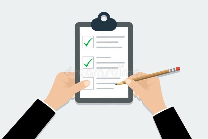 清单-传染媒介例证 递拿着与铅笔的剪贴板清单在时髦平的设计 库存例证