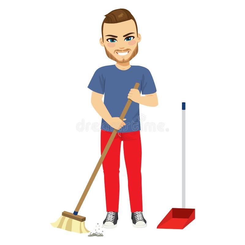 清扫与笤帚的人 向量例证