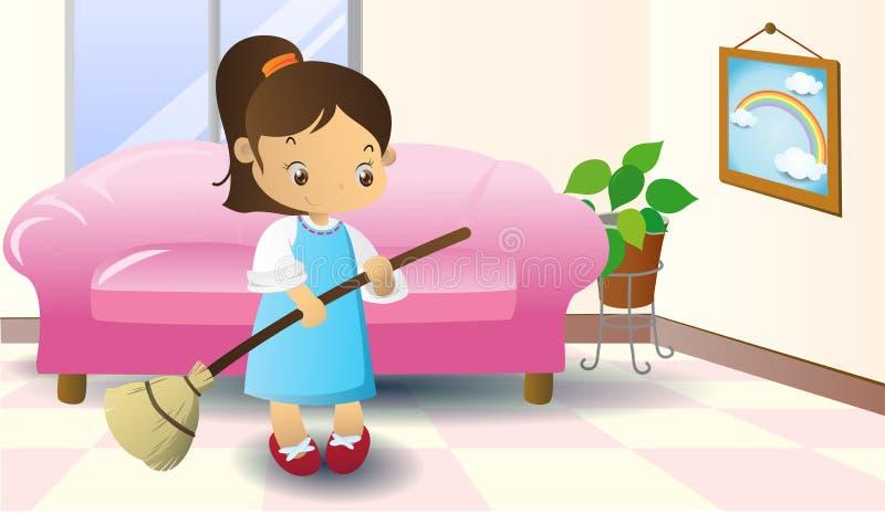 清扫地板 向量例证