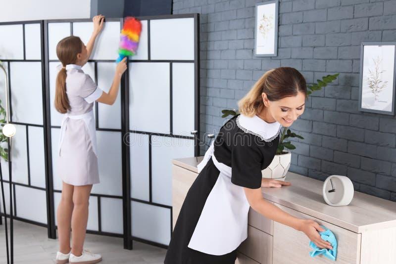 清扫的制服的专业女服务生 库存图片