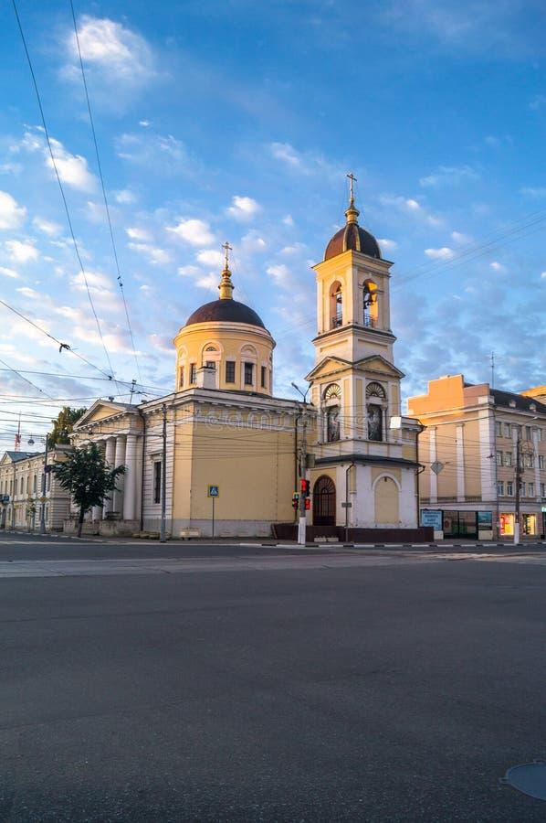清早在城市 上生大教堂在特维尔市,俄罗斯 库存照片