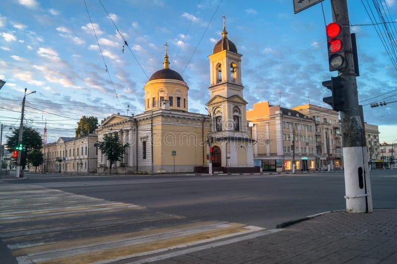 清早在城市 上生大教堂在特维尔市,俄罗斯 库存图片
