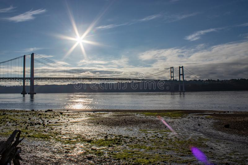 清早在的夏天太阳塔科马港狭窄的桥梁1 免版税库存照片