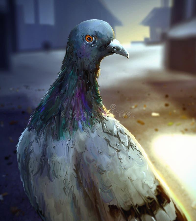 清早城市鸽子-数字式绘画 免版税库存图片