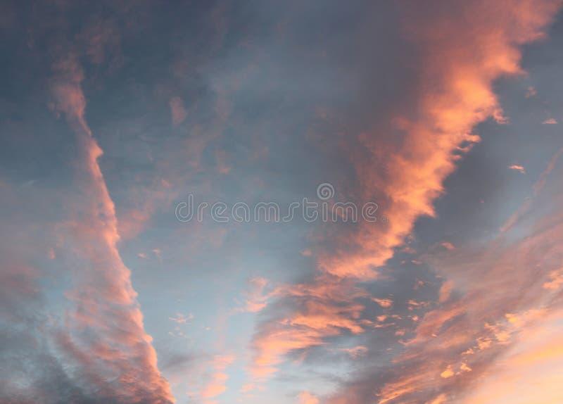 清早天空充满一新的天的诺言,与桃红色云层 免版税库存照片