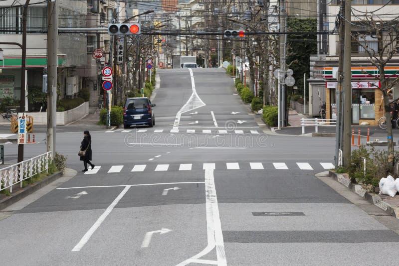 清早街道在东京 库存图片