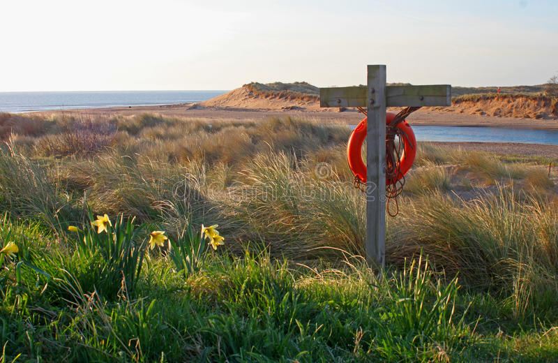 清早, Alnmouth海滩和海湾 免版税库存照片