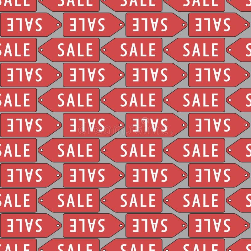 清楚的例证红色丝带销售额标签向量 低价,无缝的样式 重复背景与 向量例证
