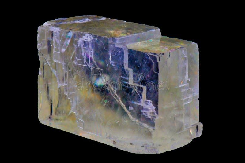 清楚的光学方解石,矿物 免版税库存图片