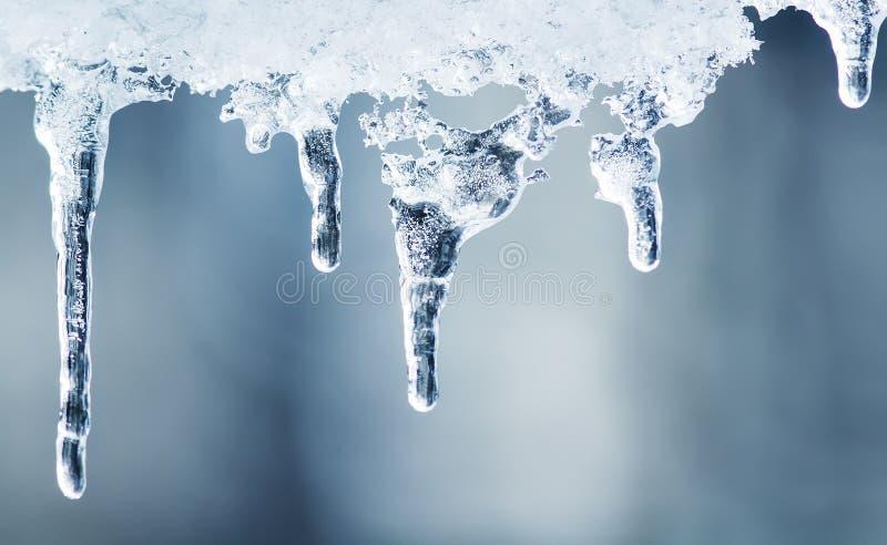 清楚的冰冰柱在一个晴天垂悬 库存照片