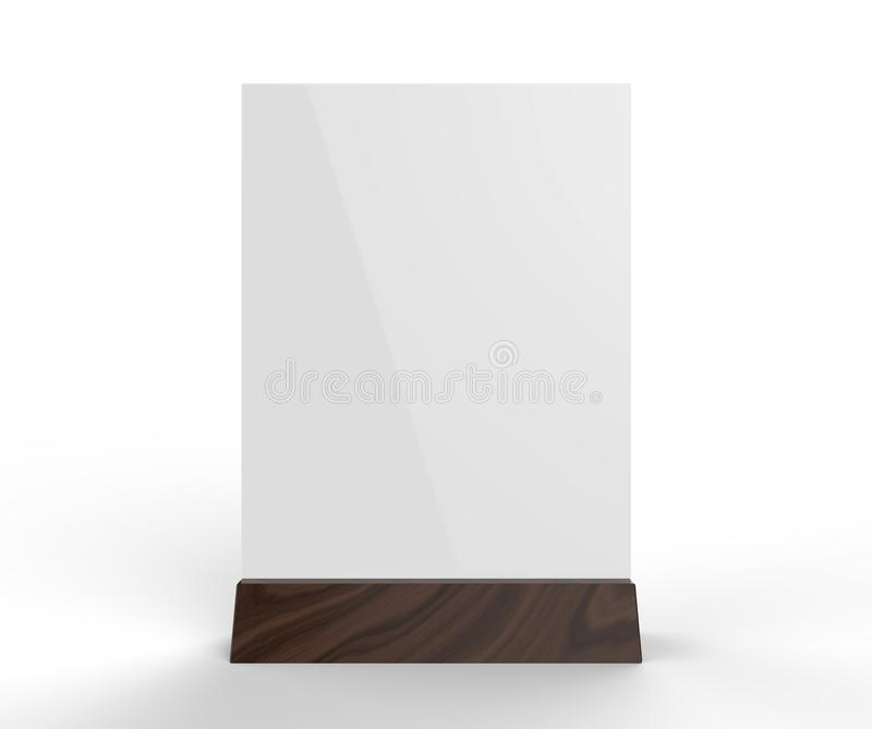 清楚的塑料和丙烯酸酯的桌健谈的人增进挺直菜单制表帐篷顶面标志持有人桌菜单卡片陈列台图片 向量例证