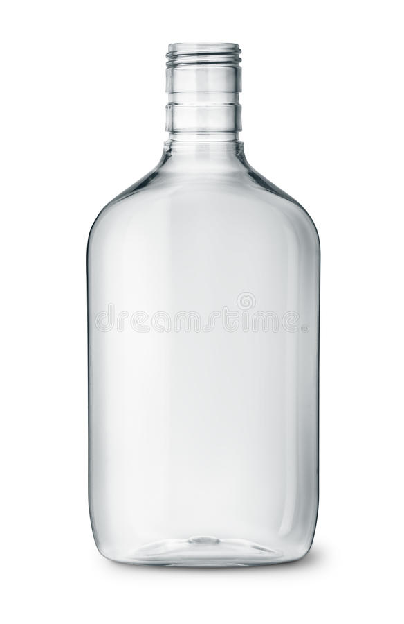 清楚的塑料酒精烧瓶 库存图片