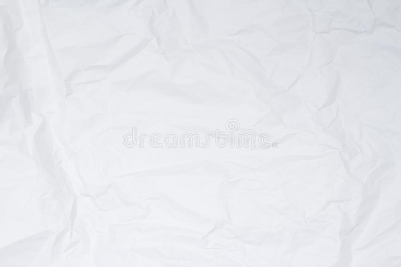 清楚的白色被弄皱的纸背景纹理 库存图片