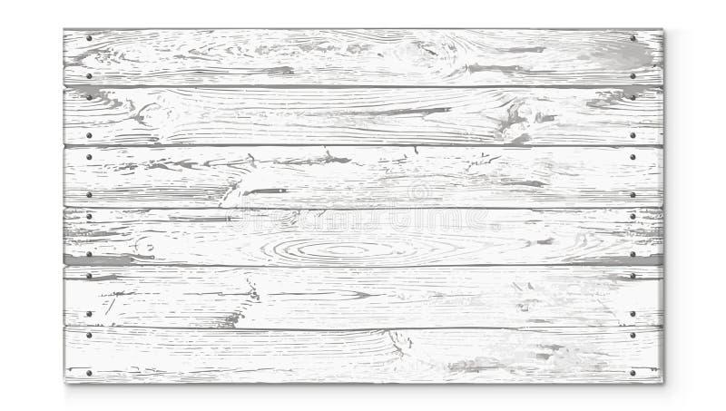 清楚的老白色土气木标志 库存例证