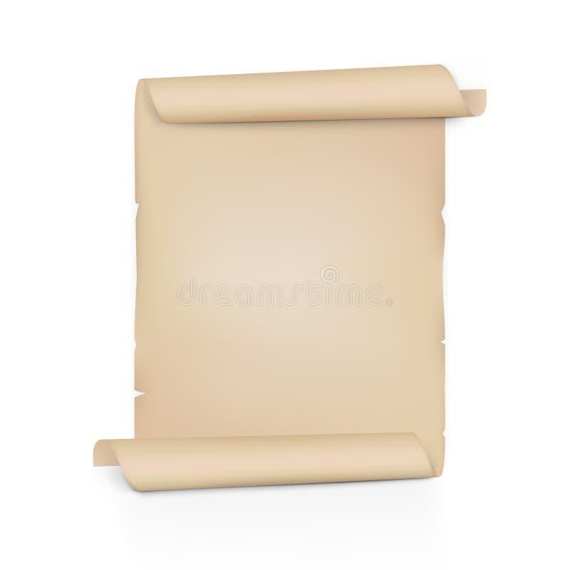 清楚的老纸纸卷 在双方的板料卷 库存例证