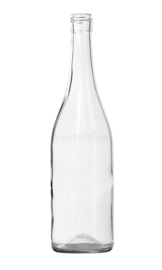 清楚的酒瓶隔绝了白色背景裁减路线 免版税库存图片