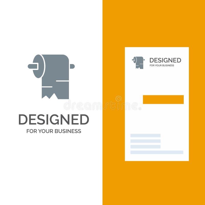 清洁、纸、组织灰色商标设计和名片模板 库存例证