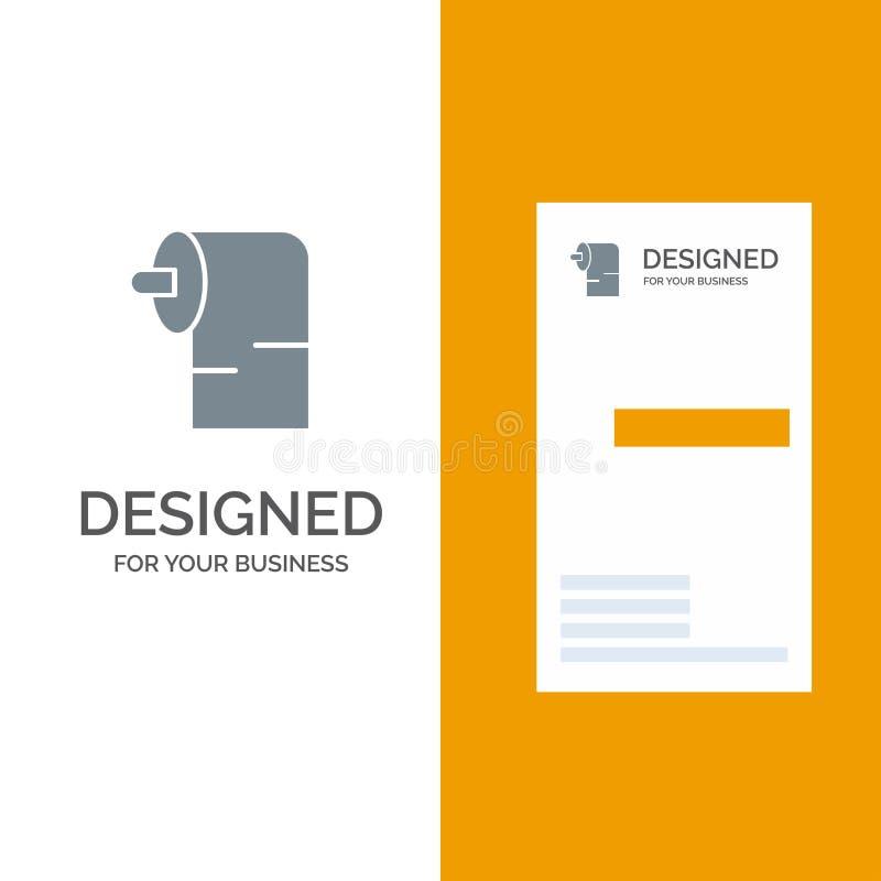 清洁、纸、组织灰色商标设计和名片模板 皇族释放例证
