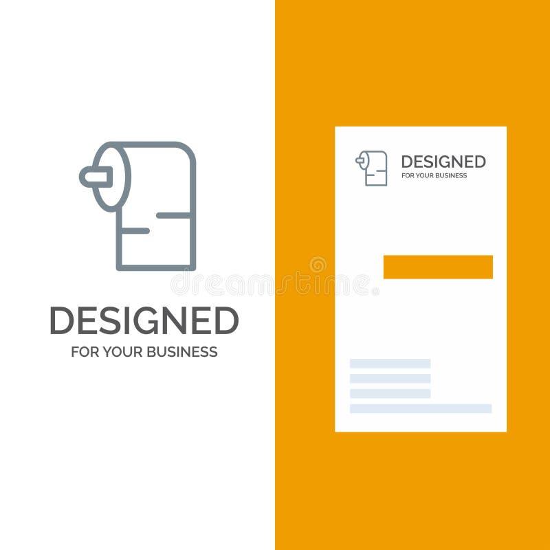 清洁、纸、组织灰色商标设计和名片模板 向量例证