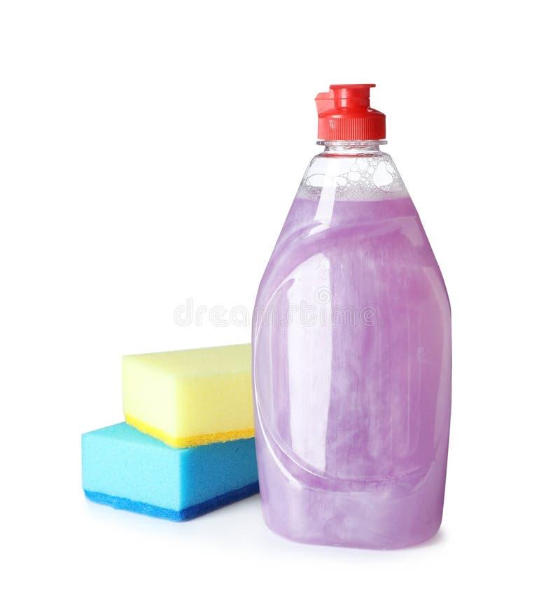 清洁产品和海绵盘洗涤物的 免版税库存照片