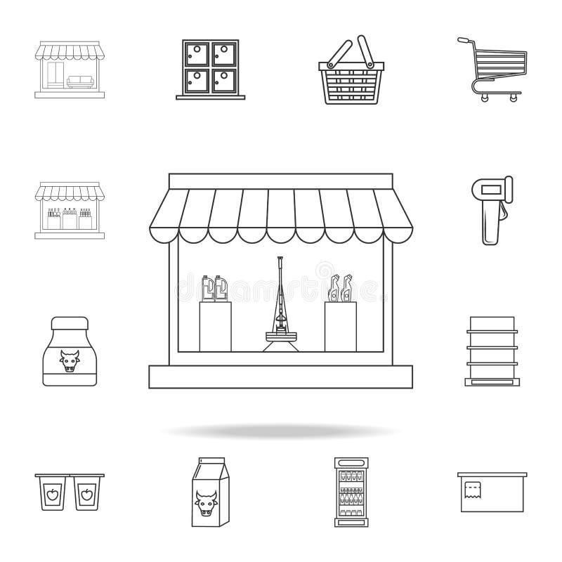 清洁产品象的商店 详细的套商店和大型超级市场象 优质质量图形设计 一collectio 向量例证