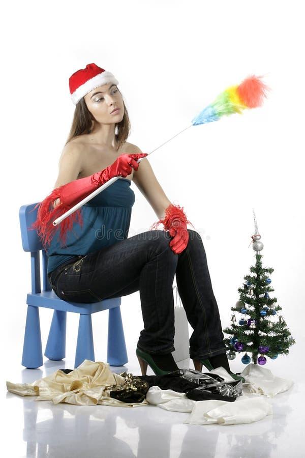 清洁女孩圣诞老人 免版税库存图片