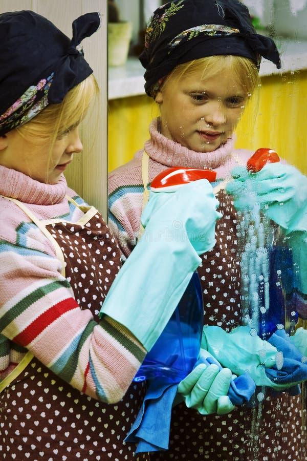 清洁女工一点 免版税库存图片