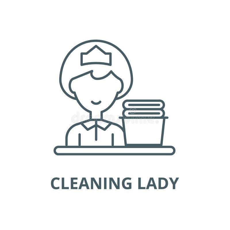 清洁女工线象,传染媒介 清洁女工概述标志,概念标志,平的例证 库存例证