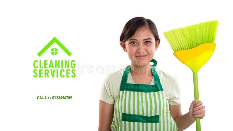 清洁服务广告横幅模板 库存图片