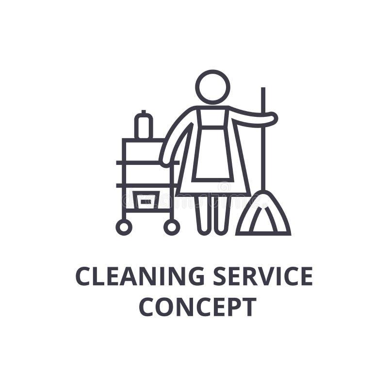 清洁服务概念稀薄的线象,标志,标志, illustation,线性概念,传染媒介 库存例证