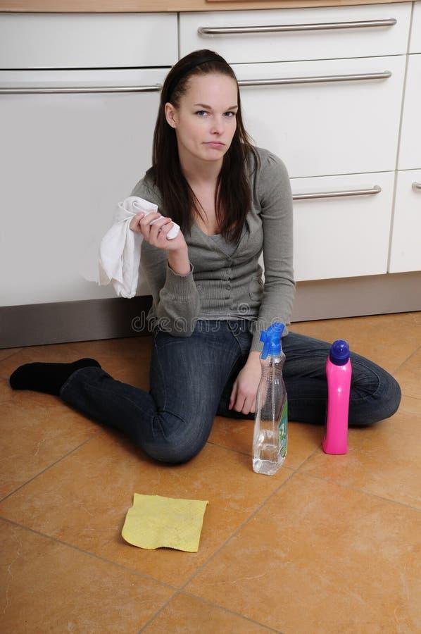 清洁楼层厨房妇女 库存图片