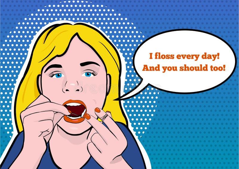 清洁牙齿她的牙的一个十几岁的女孩的例证 免版税图库摄影