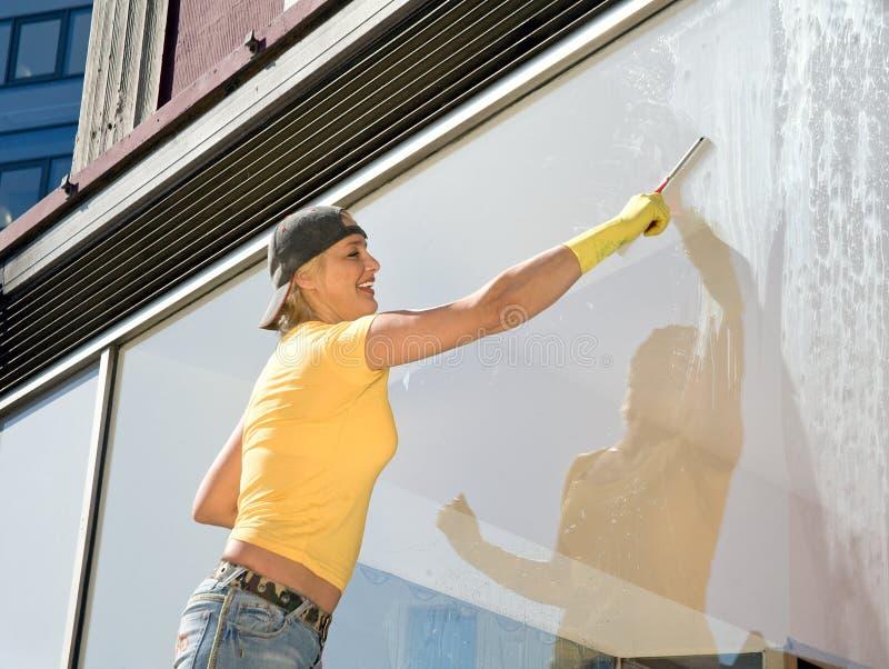 清洁视窗妇女 库存图片