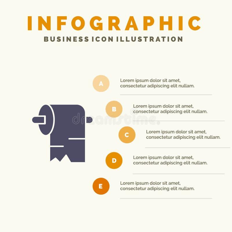 清洁,纸,组织坚实象Infographics 5步介绍背景 库存例证