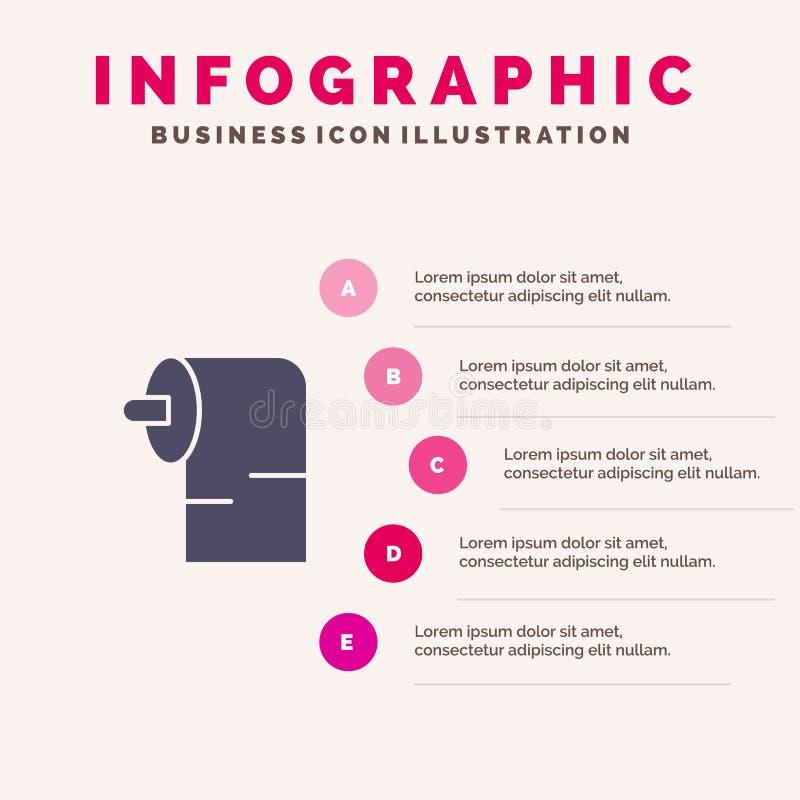 清洁,纸,组织坚实象Infographics 5步介绍背景 向量例证