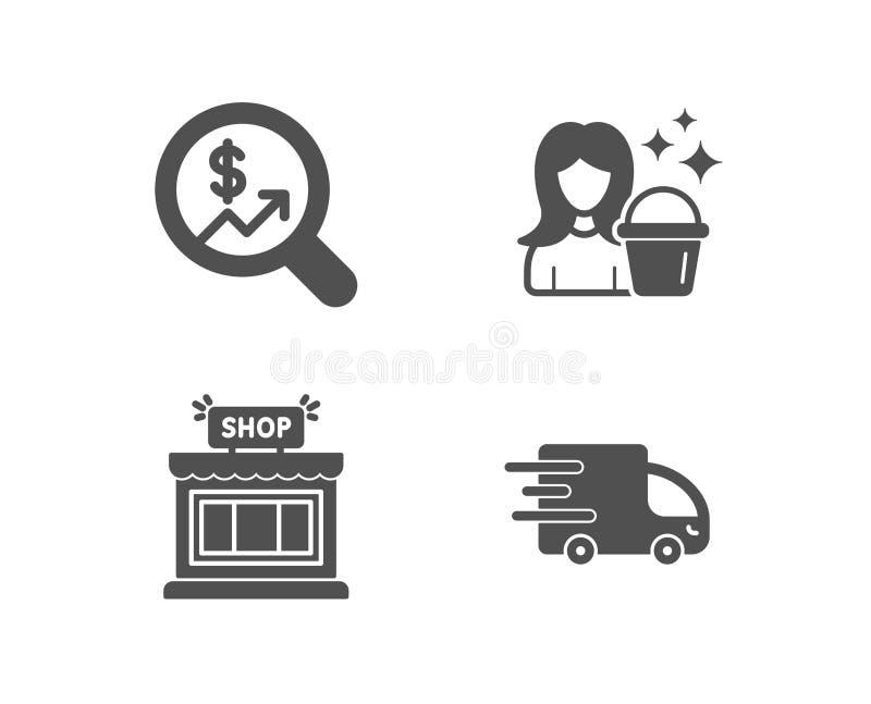 清洁,货币审计和商店象 卡车交付标志 佣人服务,金钱图,商店 库存例证