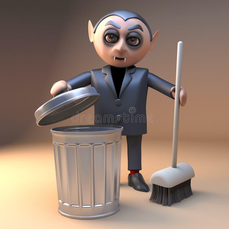 清洗与笤帚和垃圾容器,3d的严谨生活的吸血鬼dracule 3d字符例证 皇族释放例证