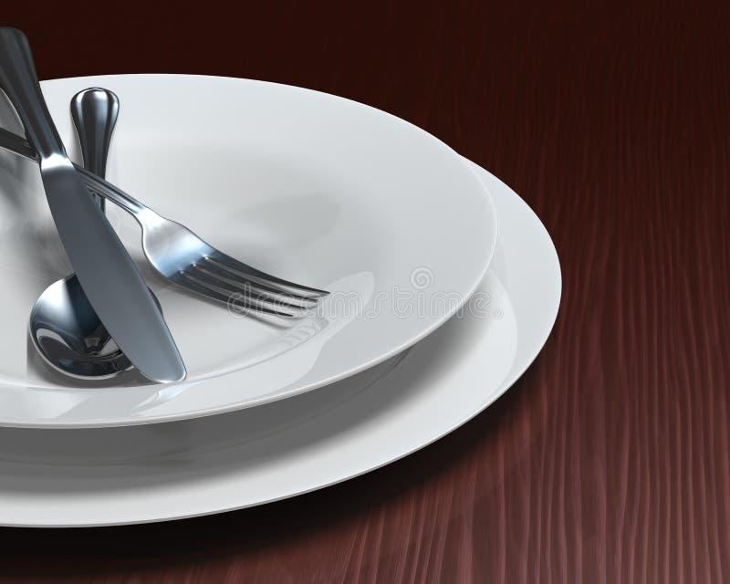 清洗刀叉餐具黑暗的盘选项白色木纹 向量例证