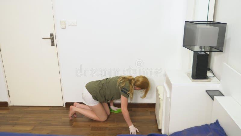 清洗卧室的年轻女人与清洁产品和设备,家事概念 免版税库存图片