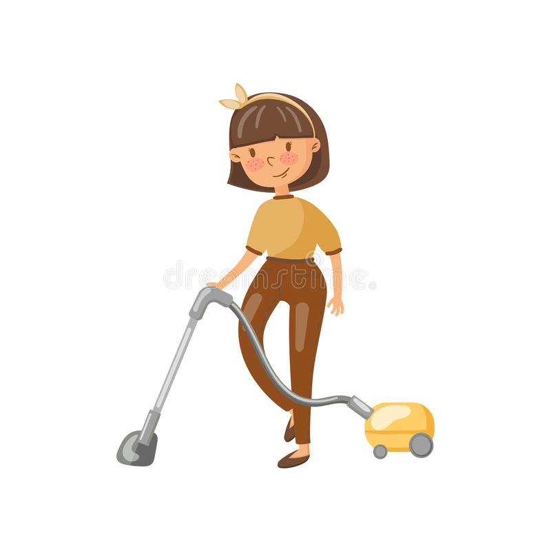 清洗地板的便衣的少妇与吸尘器,家事活动动画片传染媒介的主妇 库存例证