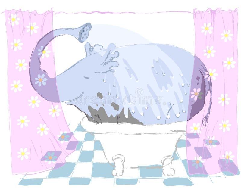清洗大象 免版税库存照片
