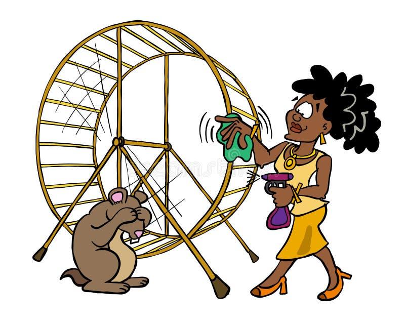 清洗她的仓鼠轮子的黑暗的皮肤妇女 皇族释放例证