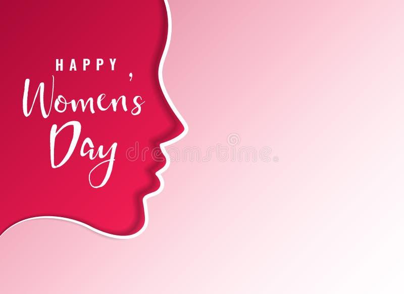 清洗愉快的妇女` s天卡片设计与女性面孔 向量例证