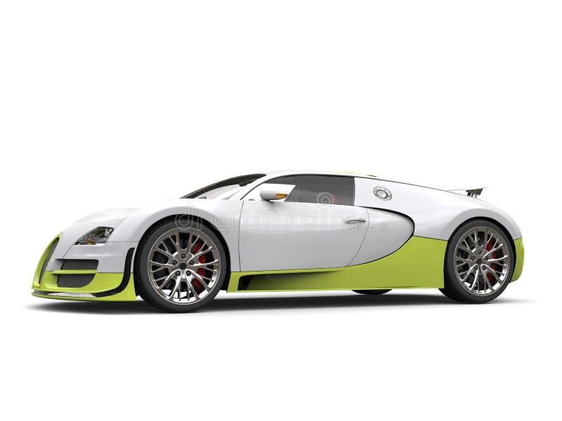 清洗白色现代超级跑车与绿色细节-演播室射击 皇族释放例证